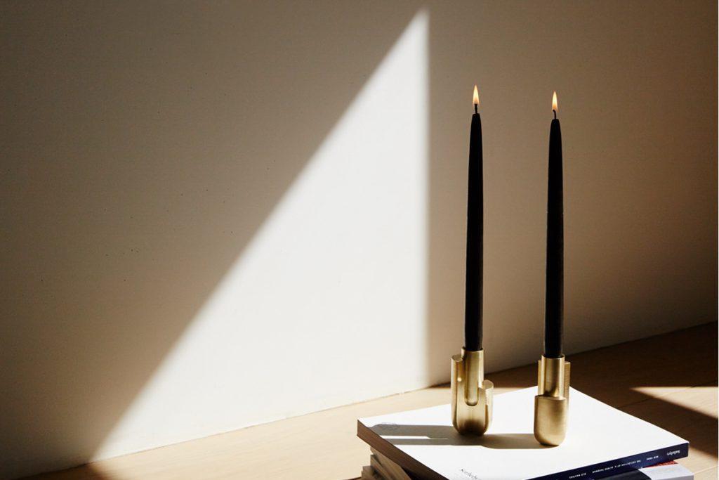 Farrah Sit brass candlestick Trataka