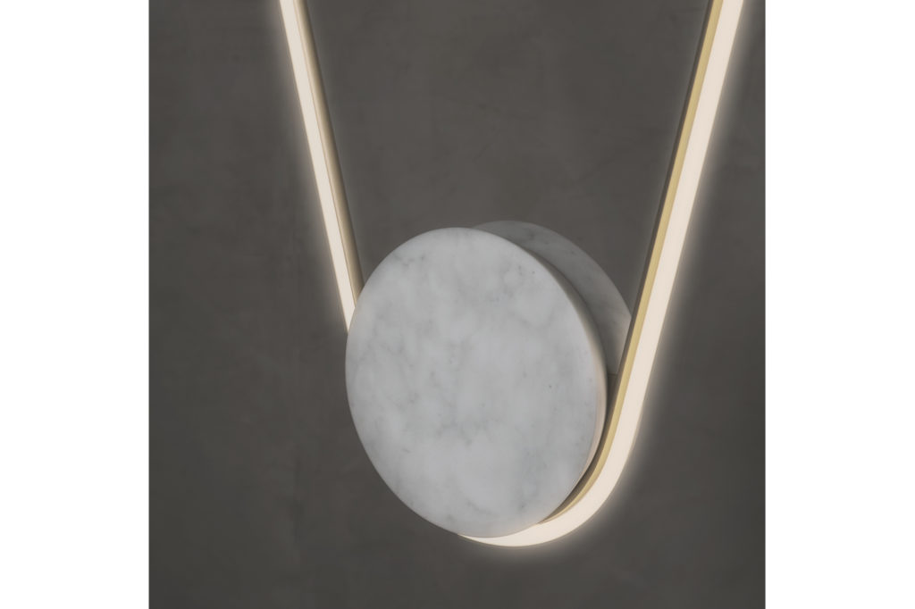 Close up of Farrah Sit Pingala Neon and Marble Pendant light