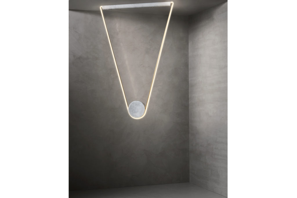 Farrah Sit Pingala Neon and Marble Pendant light