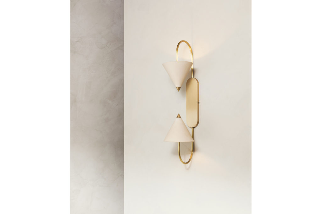 Farrah Sit Arc Ceramic and Brass Wall Sconce