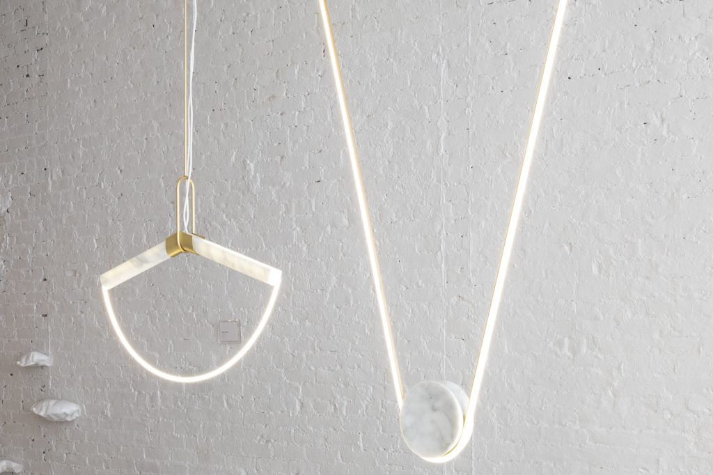 Farrah Sit Ida and Pingala Marble Neon Pendant Lighting - Colony Lightness Show